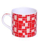 Pearl Red Check Tea & Coffee Mug - Set Of 6 Pieces