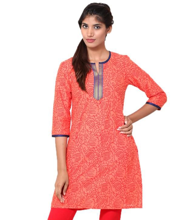 Go Ethnic Women's Printed Cotton Kurti With Embroidery