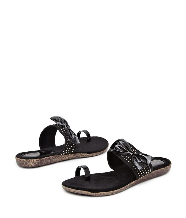 Lamere Black Beau Bow Sandals