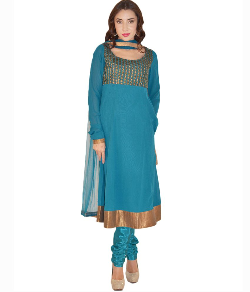 Magnetic Designs Blue Plain Faux Georgette Anarkali Salwar Suit