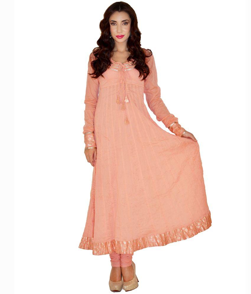 Magnetic Designs Pink Plain Cotton Anarkali Salwar Suit