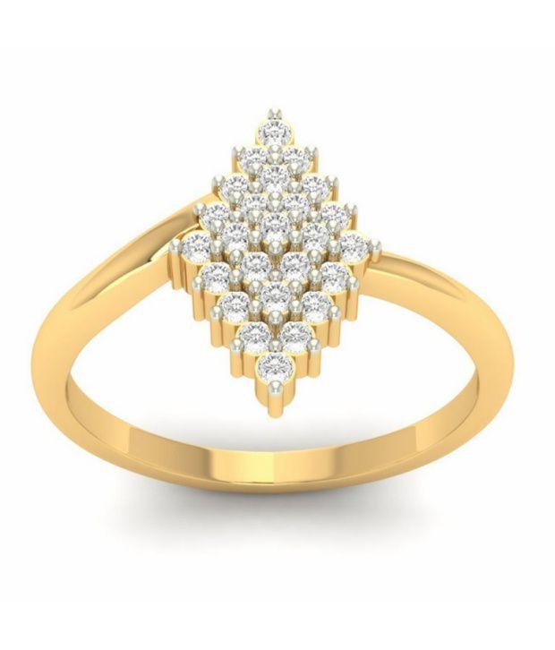 Kuberbox 14k Gold Diamond Nakshatra Ring