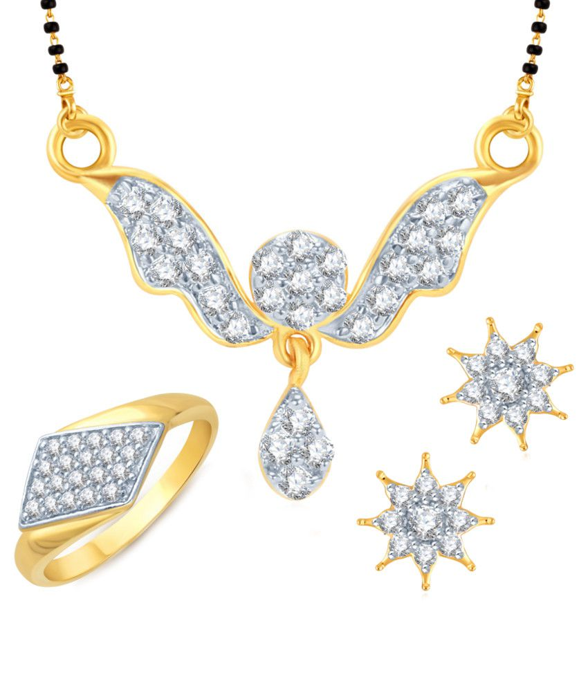 Meenaz Amazing Mangalsutra With Earrings And Ring Combo