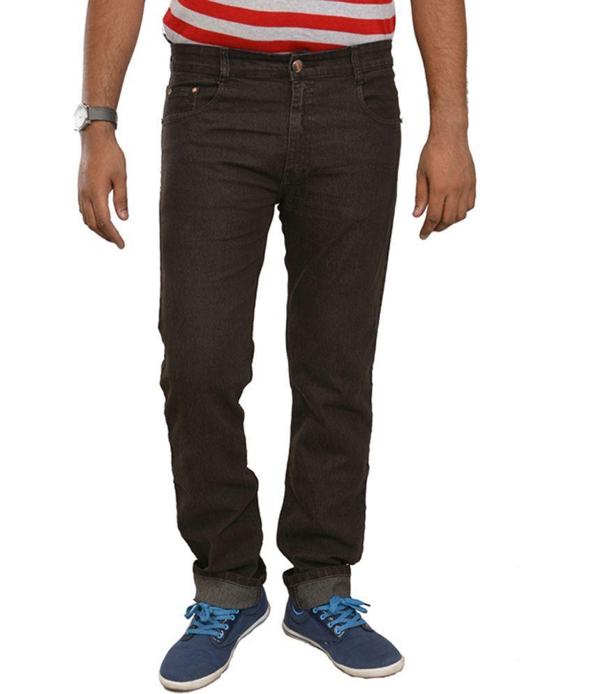 Studio Nexx Brown Cotton Regular Fit Men's Jeans