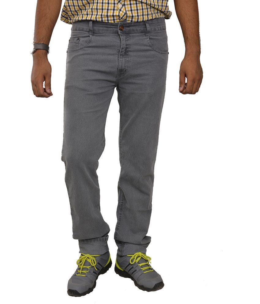Studio Nexx Gray Cotton Regular Fit Men's Jeans