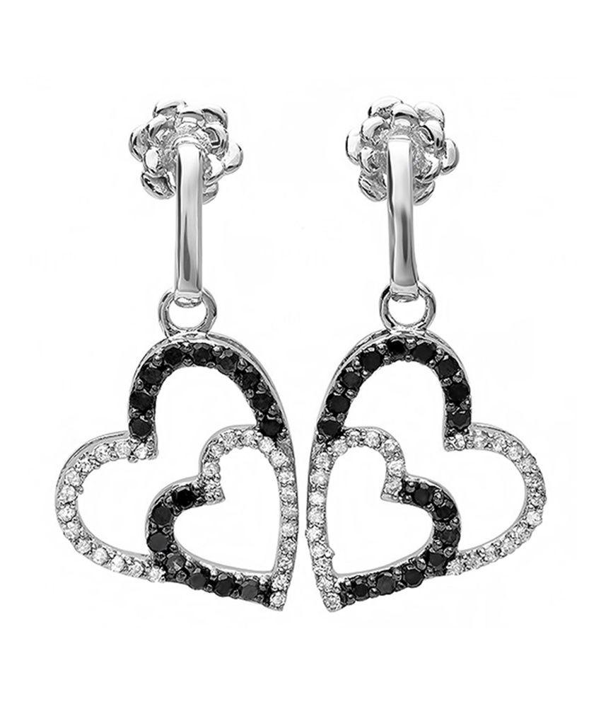 Suvam Jewels White Paisley Hoop Earrings