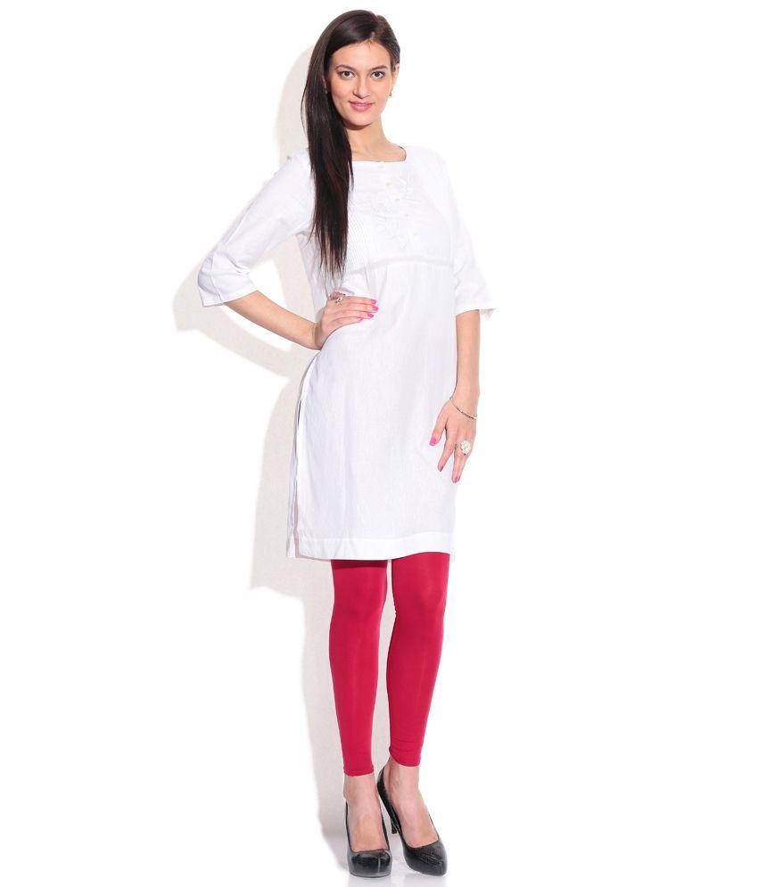 965ed592635 W White Plain Cotton Kurti - Buy W White Plain Cotton Kurti Online ...