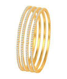 Sukkhi Classy Gold Plated Set Of 4 Australian Diamond Single Line Bangles