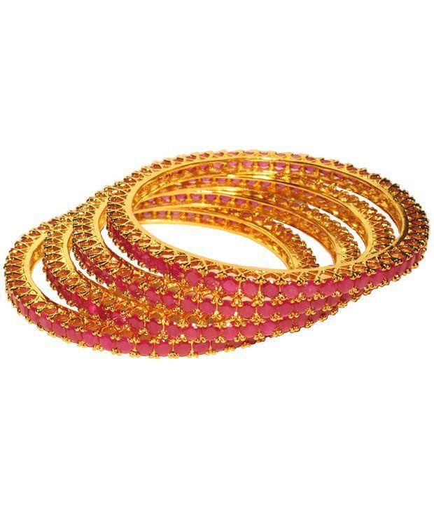 Divine Shine Attractive Pink Stone Bangle Set