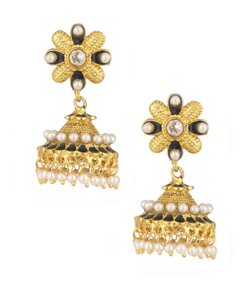 Voylla Jhumki Earrings Pair With Cz, Pearl Beads And Enamel Work