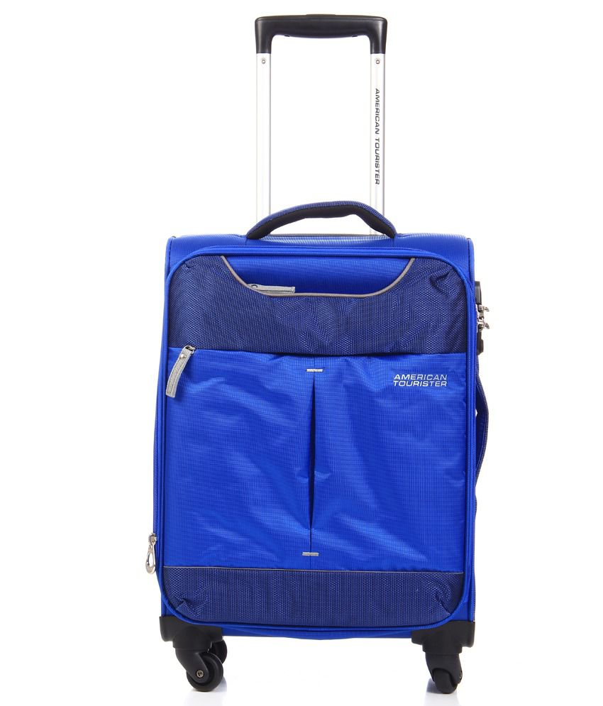 American Tourister Sky Blue-Grey 4 Wheel Soft Luggage Trolley -Size Small (Below 60 Cm)