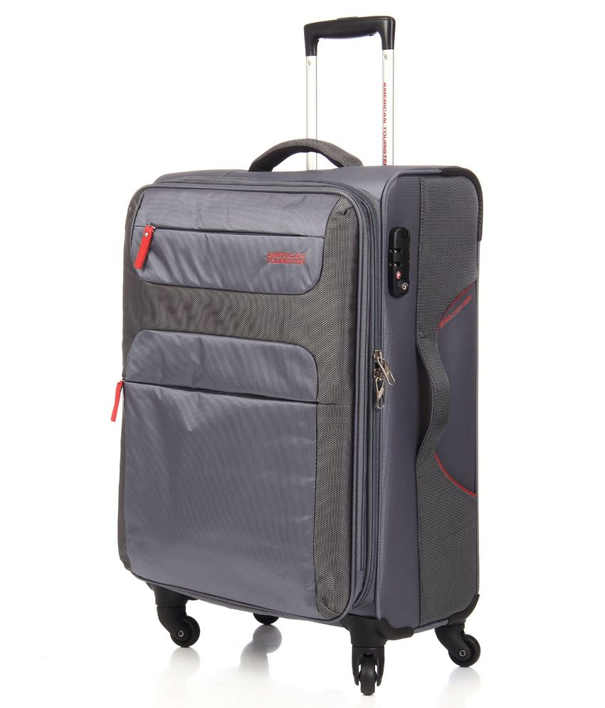 dcf5adcfa2 ... American Tourister Ski Grey-Red 4 Wheel Soft Luggage Trolley -Size  Medium (Between ...