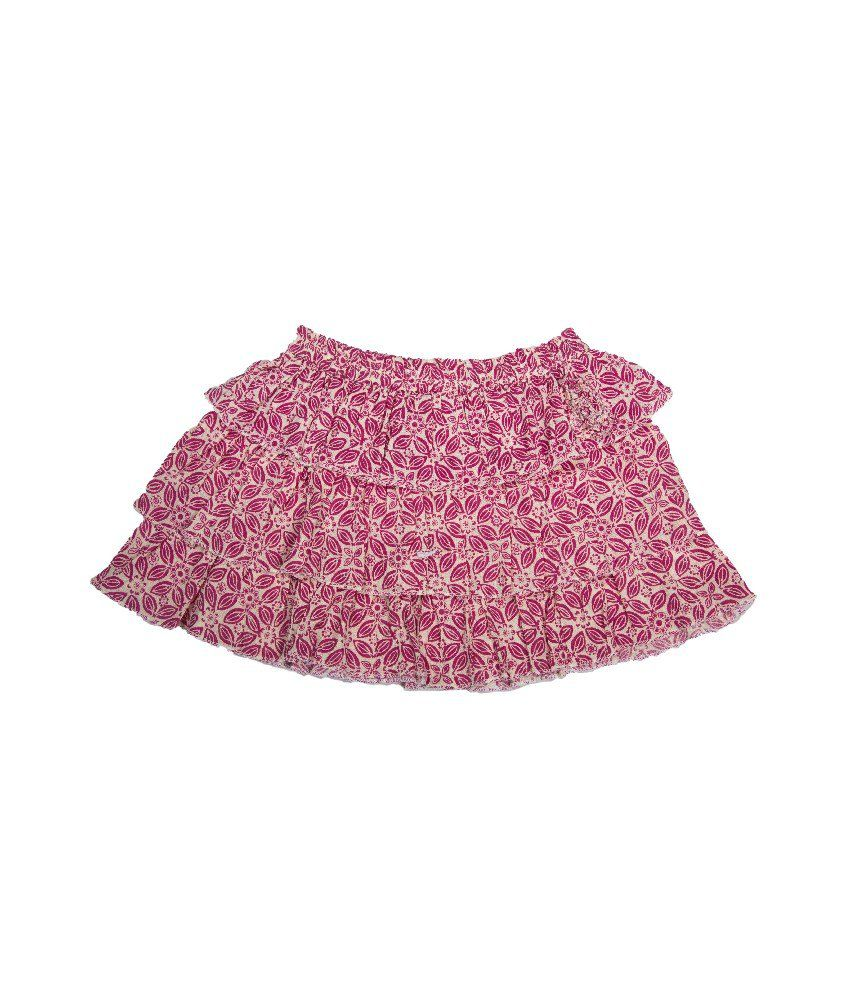 UFO Maroon Color Printed Skirts For Kids