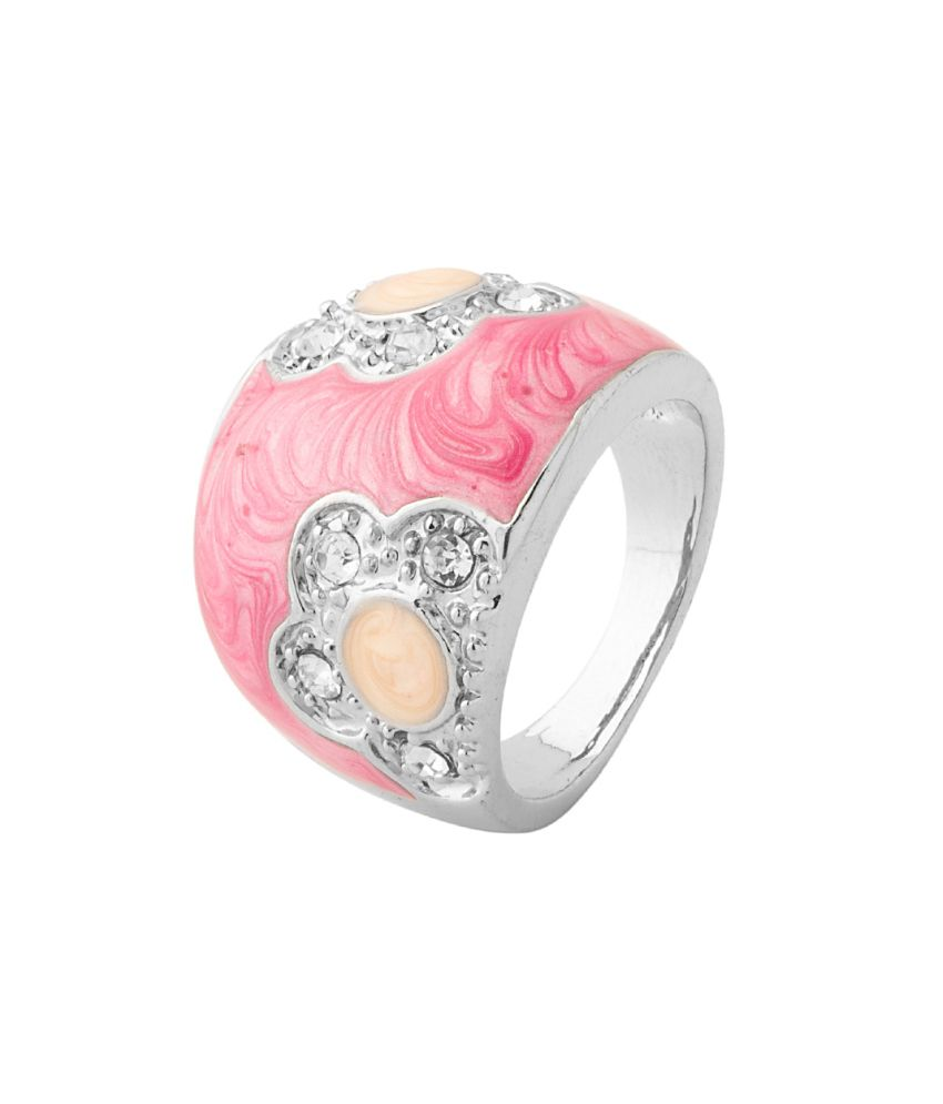 Dome Shaped Bands: Voylla Dome Shape Ring With Pink Enamel Work, Size 13.0