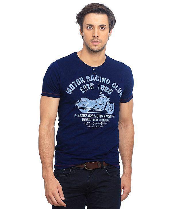 Basics Blue Cotton  T-Shirt
