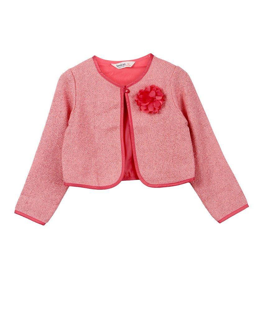 Beebay Girls Hopsack Flower Short Jacket