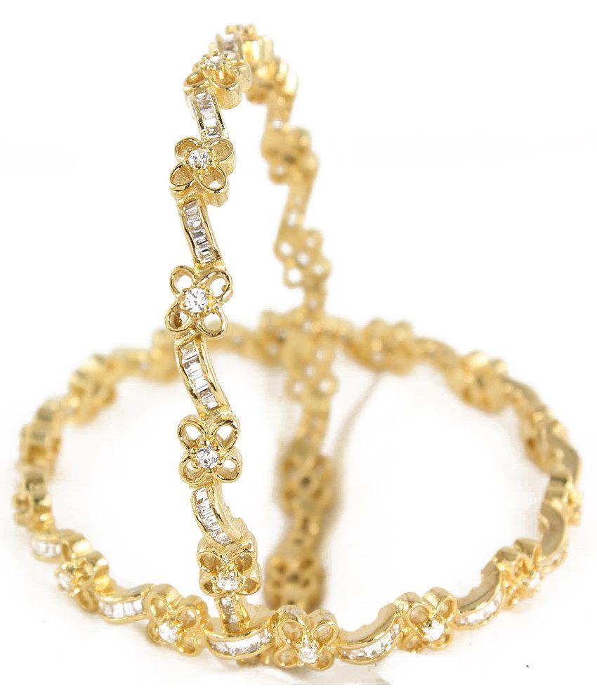 Rm White Cz Designer American Diamond Bangles