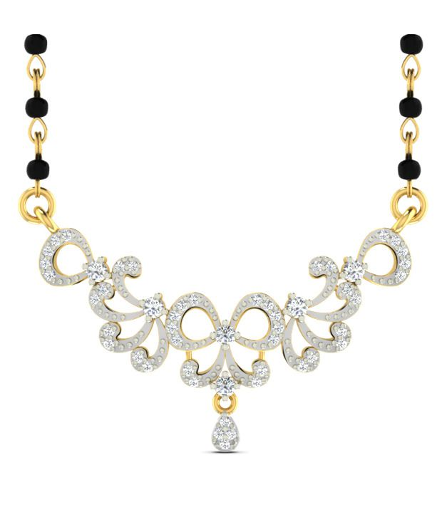 Sparkles Fantastic Diamond Mangalsutra With Gold Chain And Black Beads