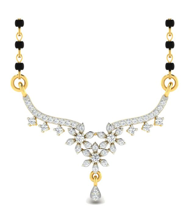 Sparkles Modish Diamond Mangalsutra With Gold Chain And Black Beads