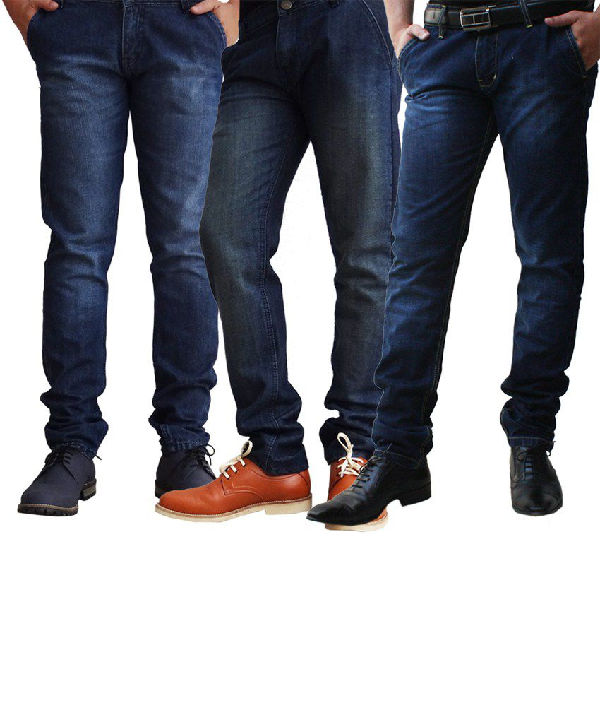 Ben Carter Men's Faded Denim Jeans - Combo Of 3