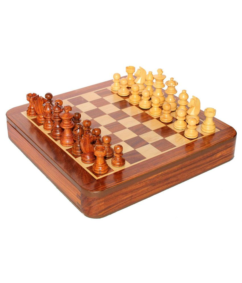 Craft Store India Hand Made Wooden Magnetic Chess 10x10 Inch Flat