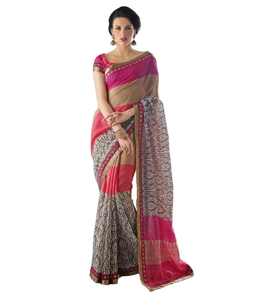 532f242210bcd2 Inddus Pink Tussar Silk Saree - Buy Inddus Pink Tussar Silk Saree Online at  Low Price - Snapdeal.com