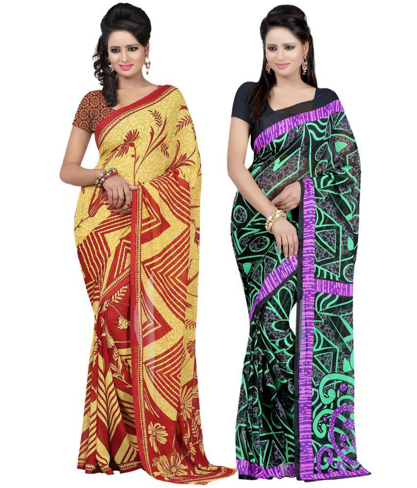 Bunny Pack Of 2 Faux Georgette Multicolour Sarees