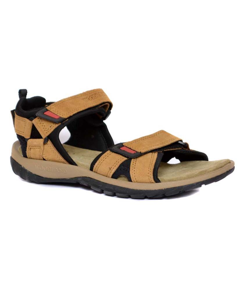 Woodland Brown Leather Sandals For Men