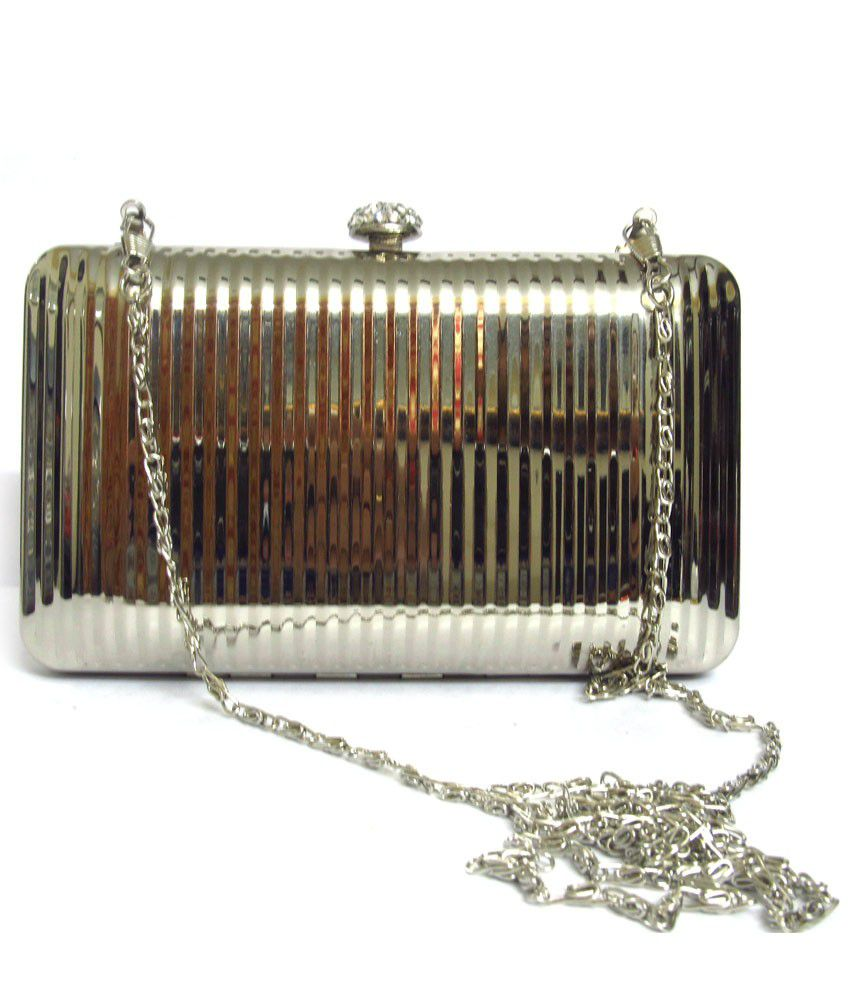 Bling Jewells Silver Metal Box Clutch With Chain