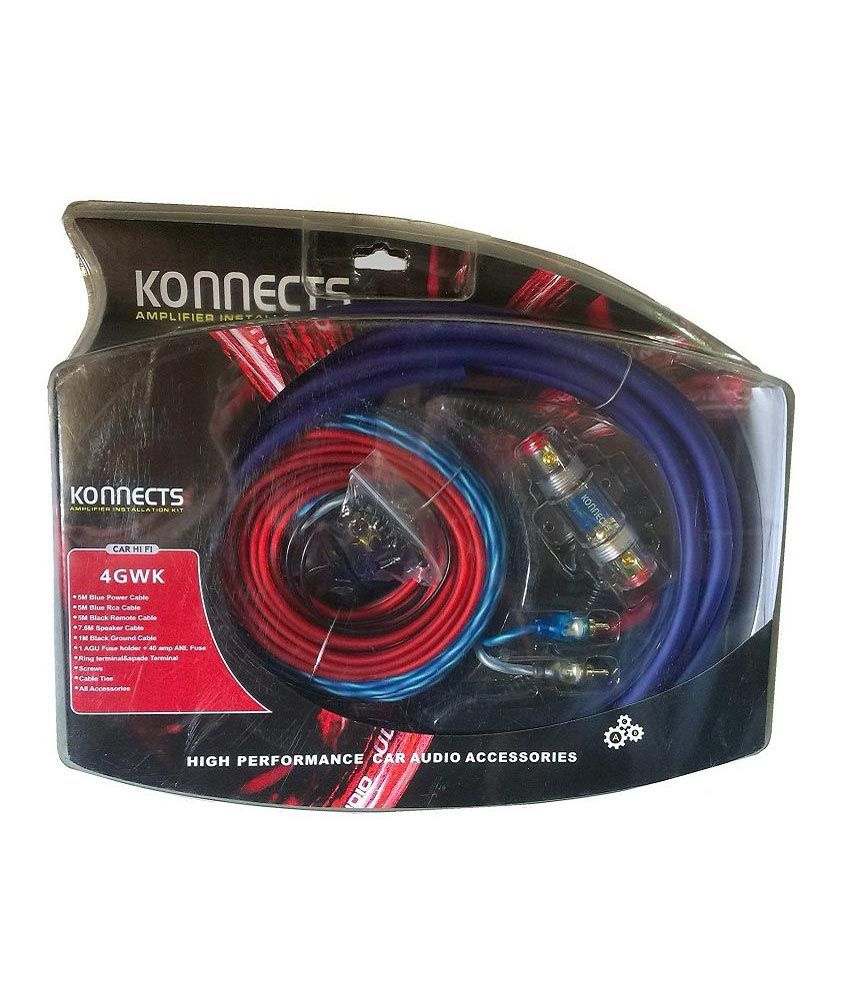 Konnects 4 Gauge Heavy Amplifier Wiring Kit With 2 To Channel Sub And Amp Convertor