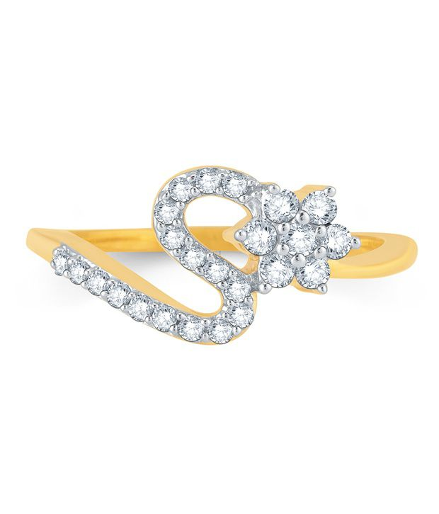 Pure Gold Jewellers 18kt Yellow gold Floral Cluster Ring with 24pcs of 0.30cts Diamonds