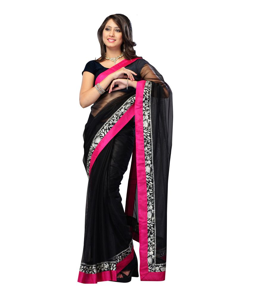 d3b2f5b5a506e2 India Craft Black Embroidered Faux Georgette Saree With Blouse Piece - Buy  India Craft Black Embroidered Faux Georgette Saree With Blouse Piece Online  at ...