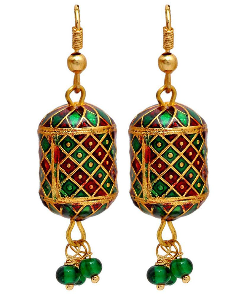 Maayra Red & Green Meenakari Fish Hook Hanging Earrings