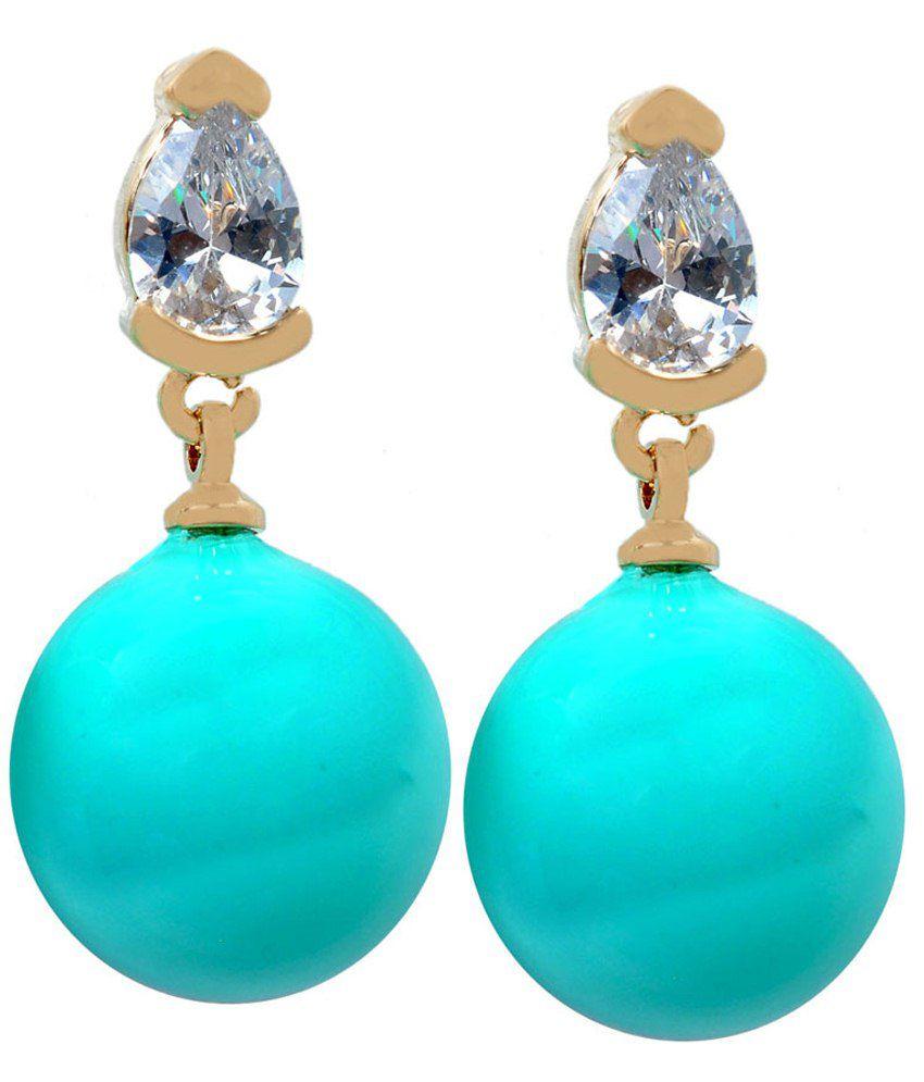Maayra Sizzling Blue Pearl Stud Earrings