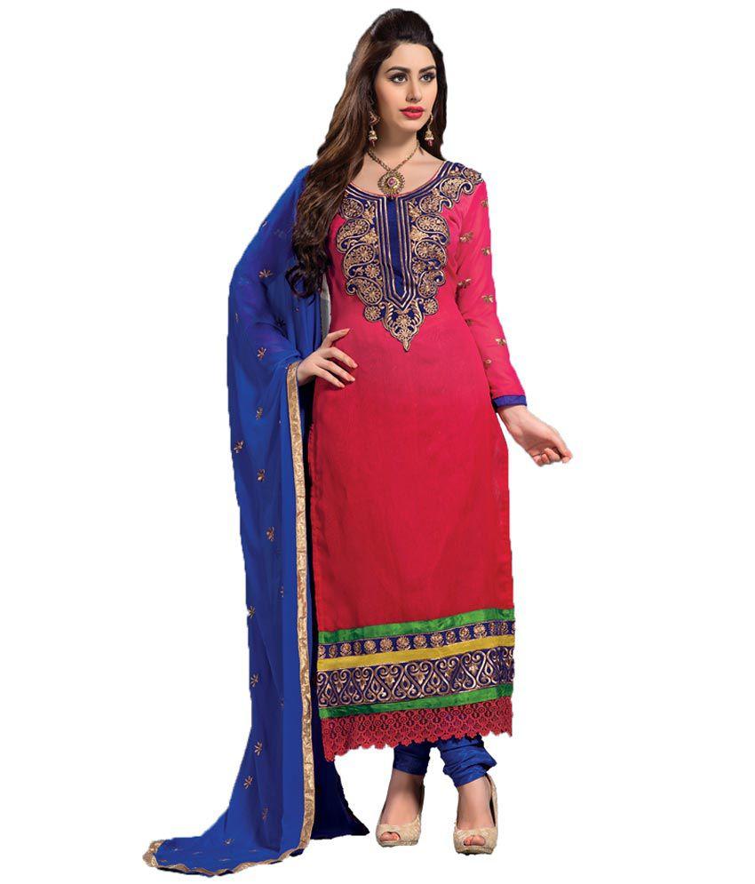 Manav Fashion Liril Red Cotton Semi-Stitched Anarkali