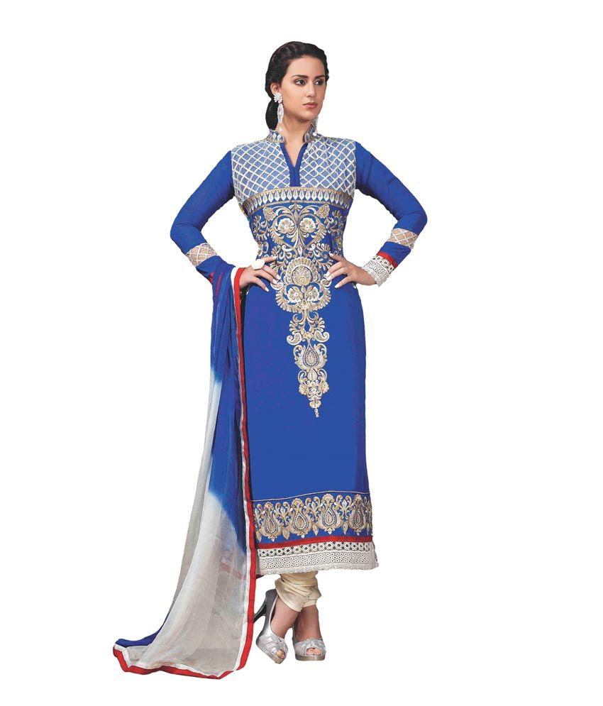 Pinkshink Blue Georgette A-line Unstitched Dress Material