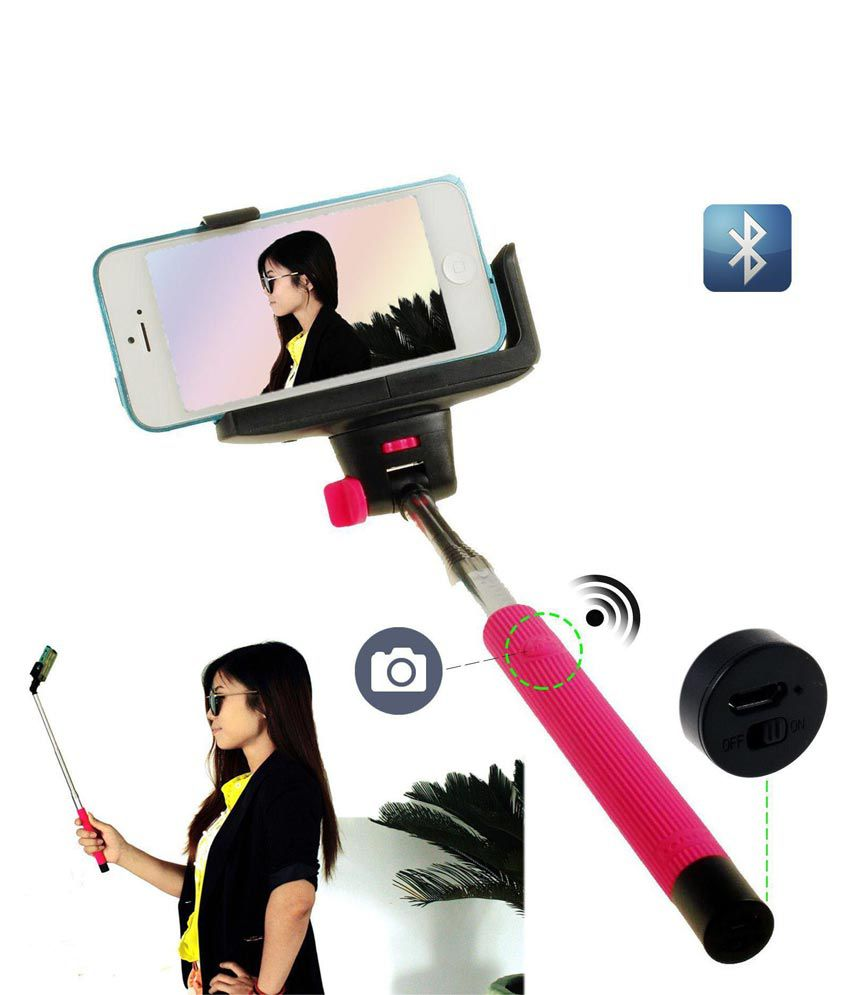 5d7158281205c5 ... Selfie Stick (Black) with Inbuilt Bluetooth - Android and iOS Phones ...