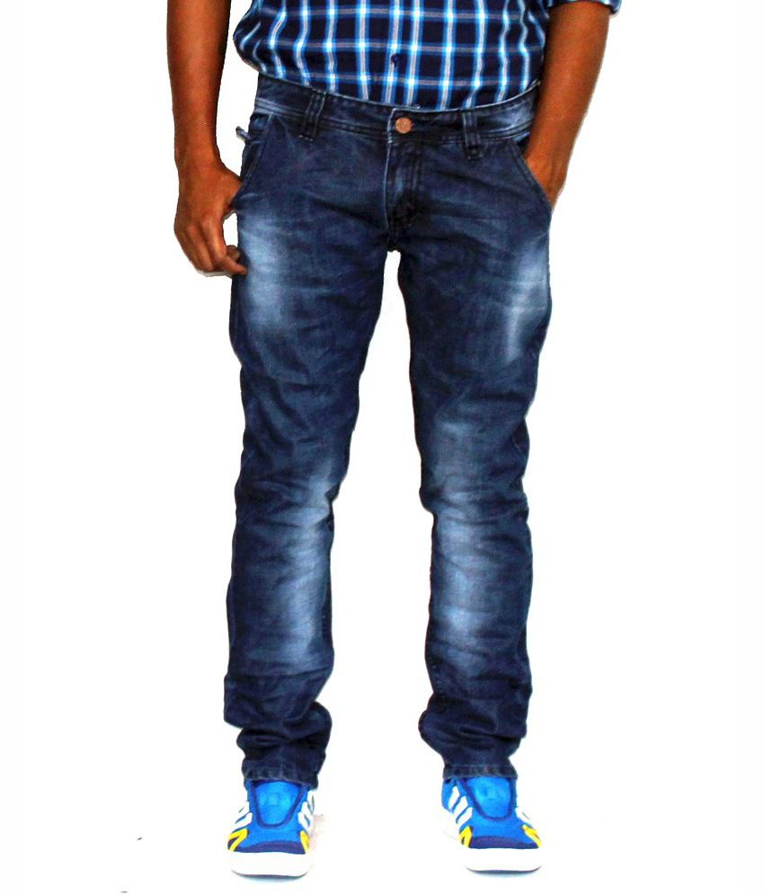 Vogel Blue Cotton Faded Slim Fit Jeans
