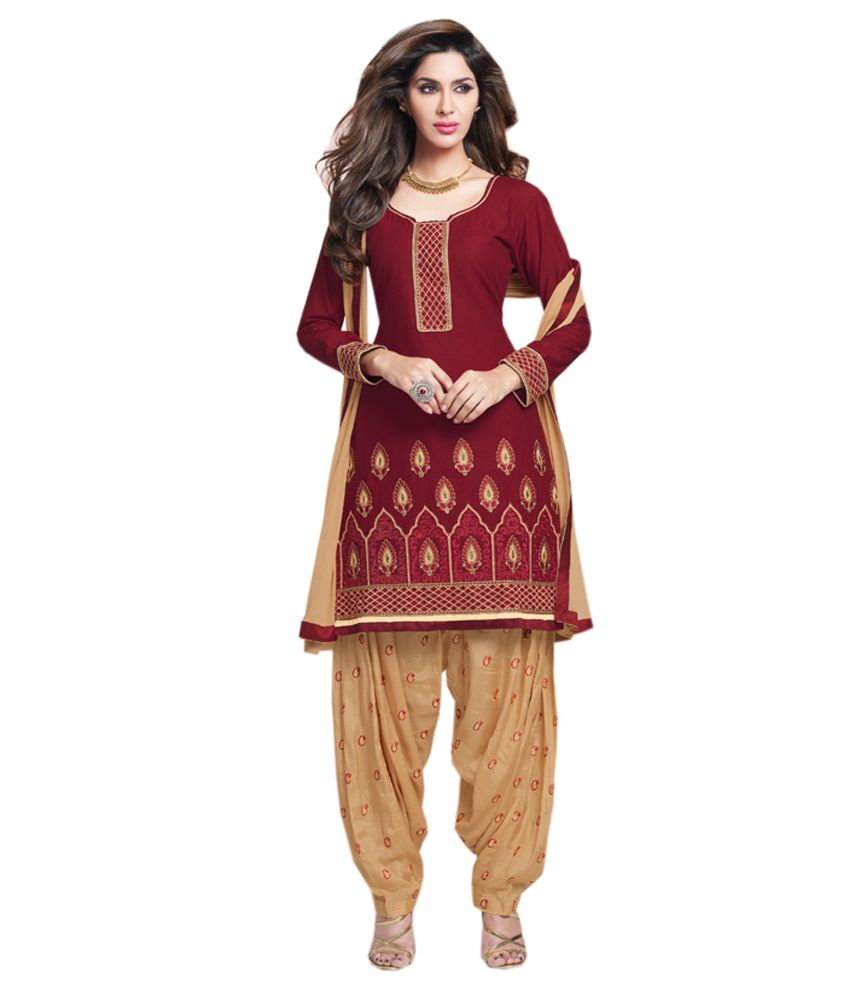 Blue Woman Red Embroidered Cotton Patiyala Dress Material