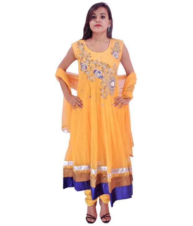 Krazzy Collection Yellow Net Embroidered Anarkali Stitched Salwar Suit