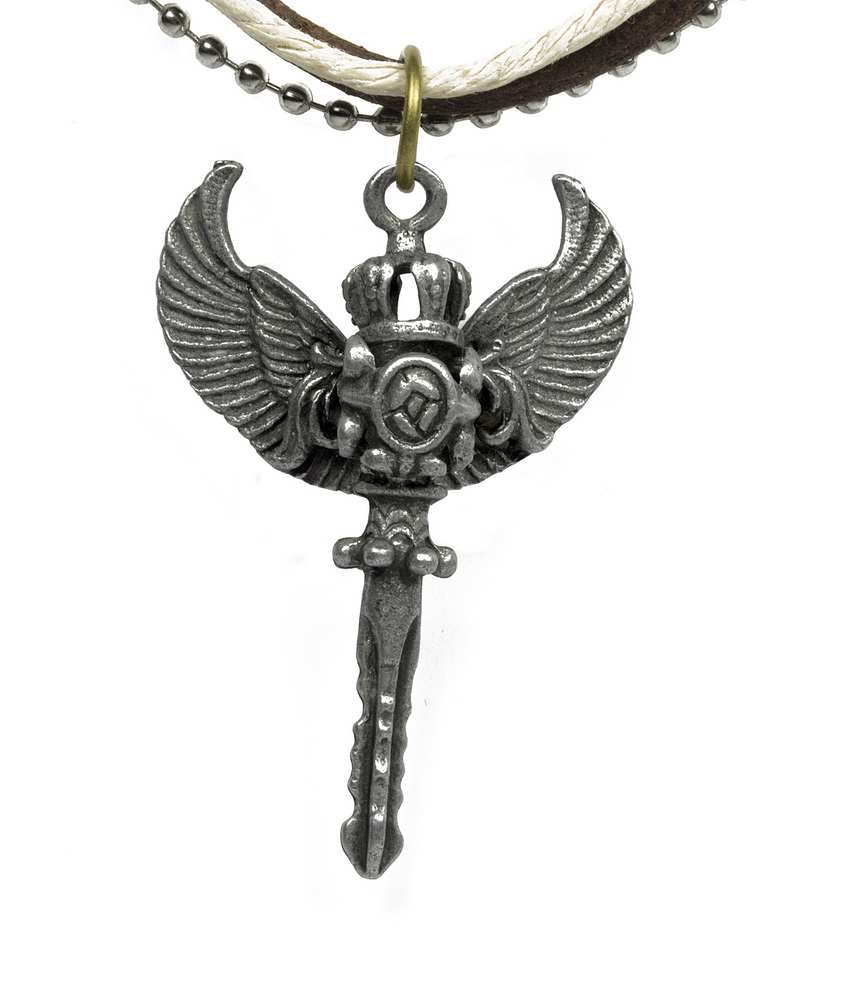Opouriao Brown Leather Angel Pendant Necklace