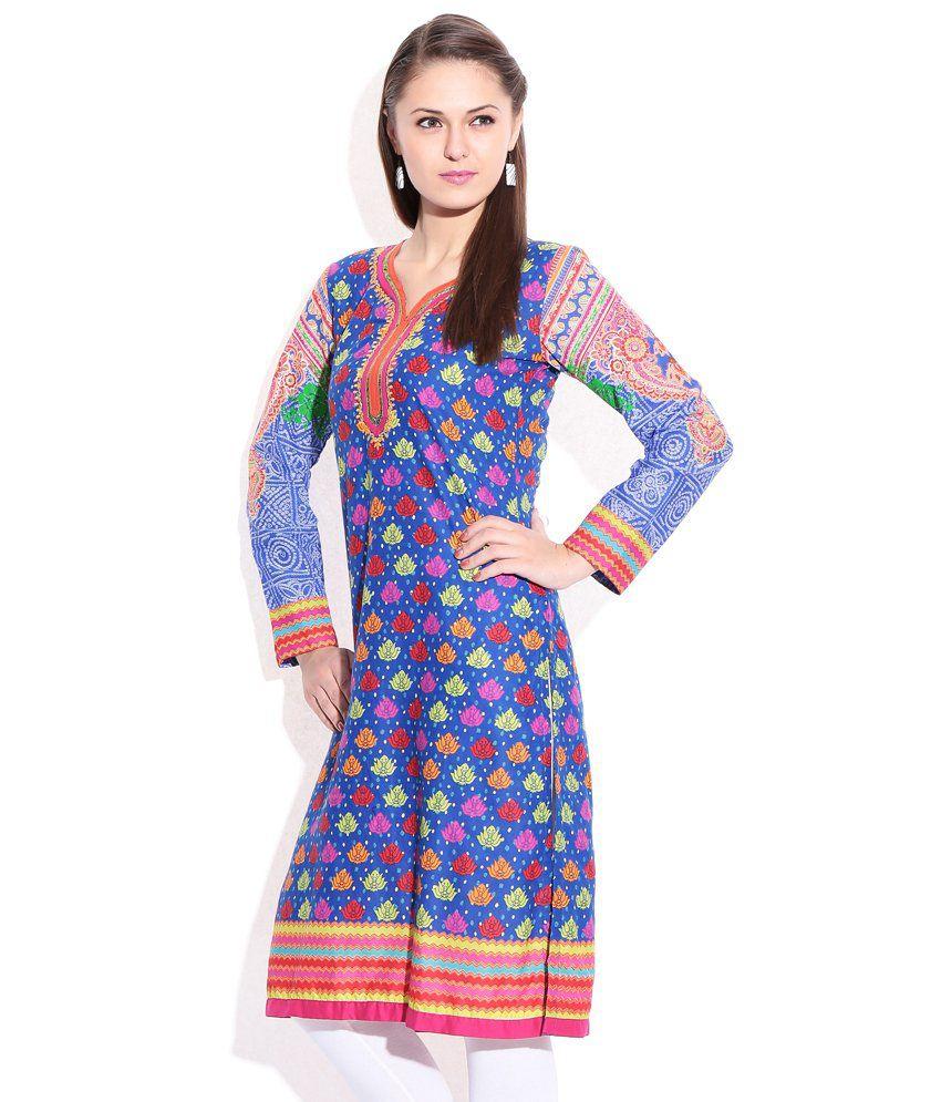 4062df6ef Rangriti Indigo Printed Cotton Kurti - Buy Rangriti Indigo Printed Cotton  Kurti Online at Best Prices in India on Snapdeal