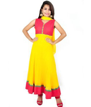 Charu Boutique Yellow Red Pure Georgette Anrakali Suit