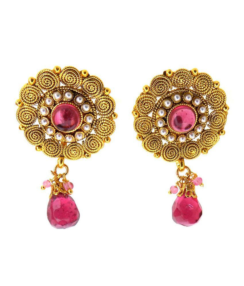 Aabhushan Jewels Gold Plated Ruby & Pearl Look Earrings For Women