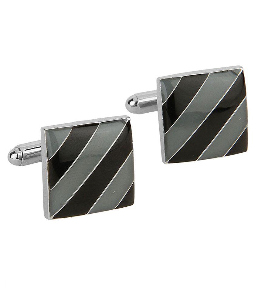 Lino Perros Gray And Black Metal Enamel Cufflinks