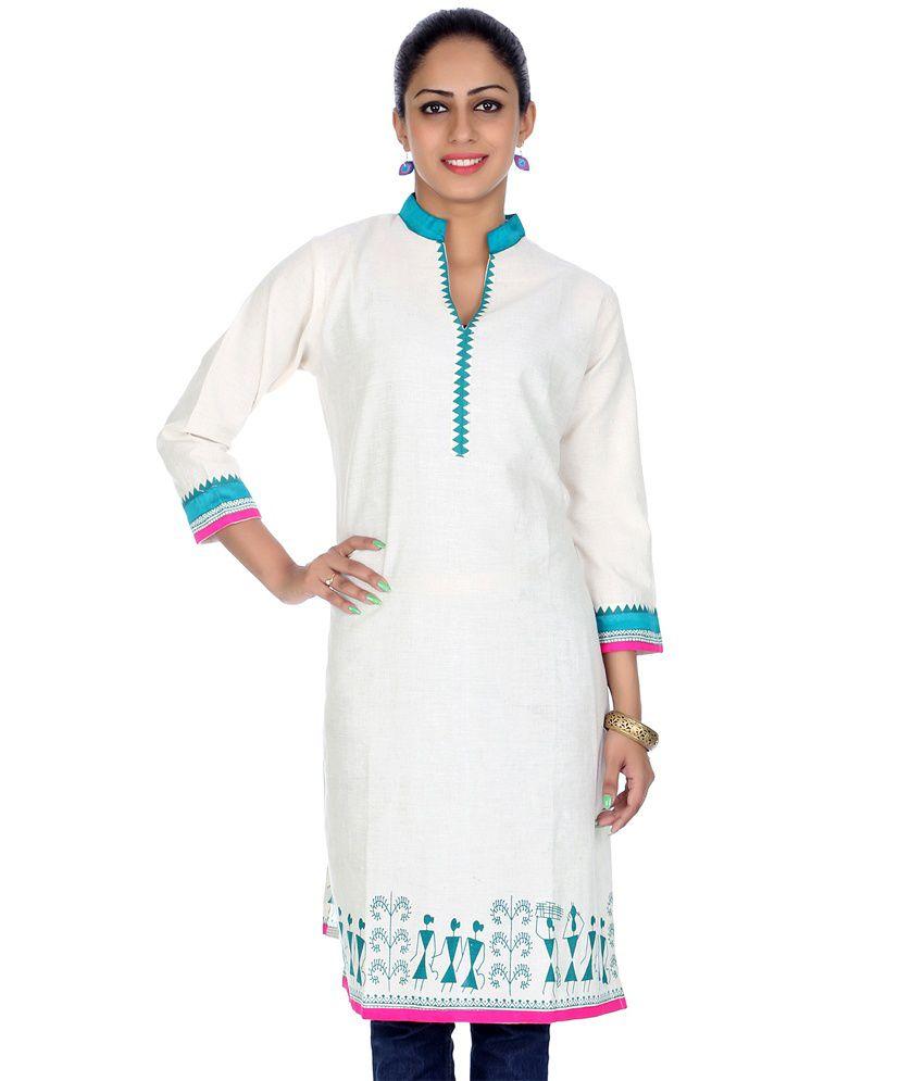 Rajrang White Cotton 3/4th Sleeves Printed Kurti