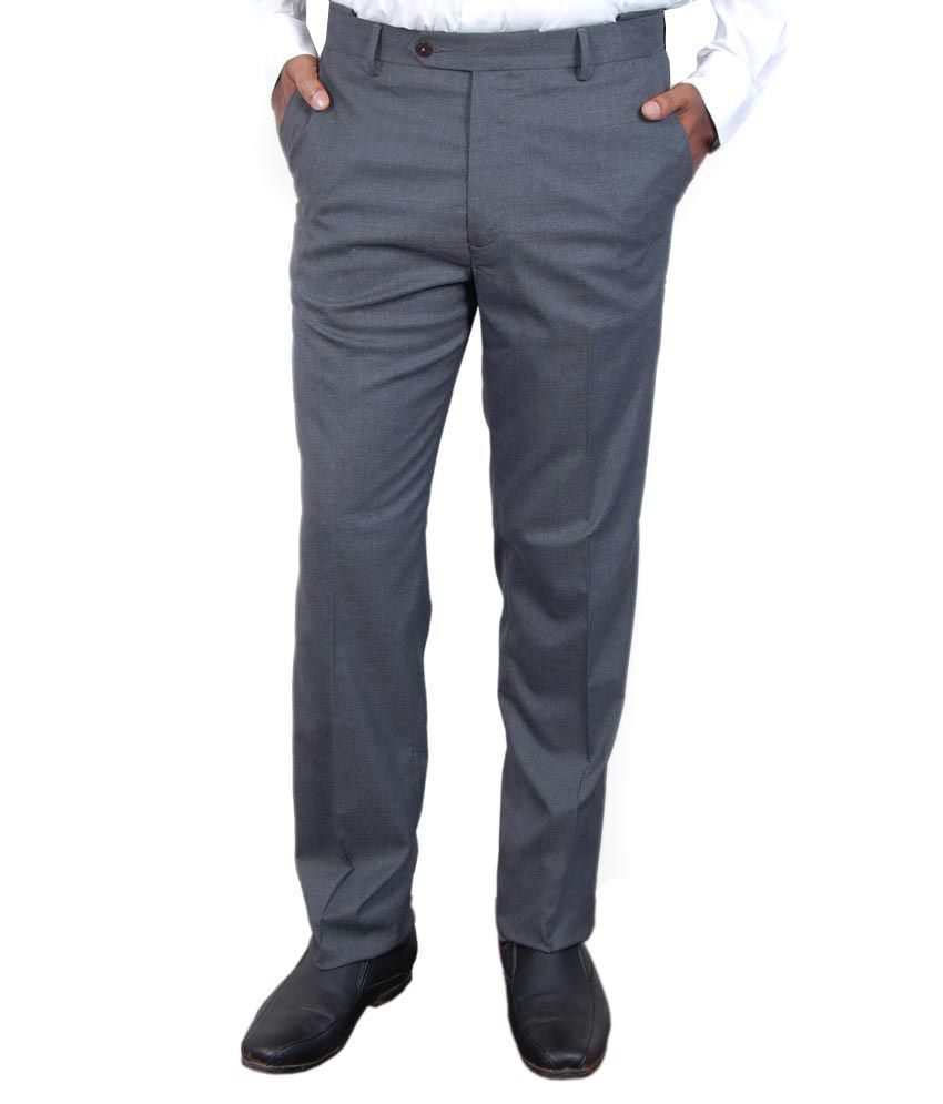 Super Trouser Grey Poly Viscose Slimfit Trouser