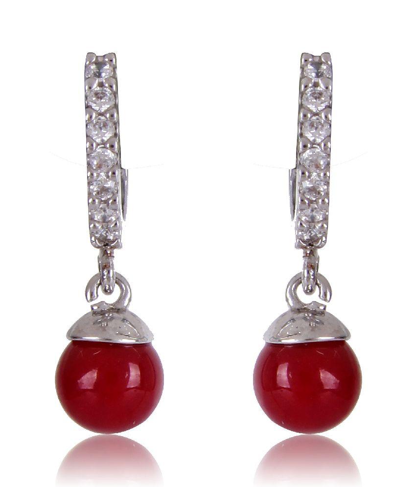 Scrunchh Red Drop Cz Earrings (0.7 Inch)