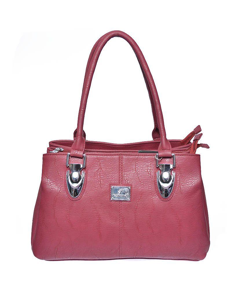 Tonino Leathers Maroon Color Handbag