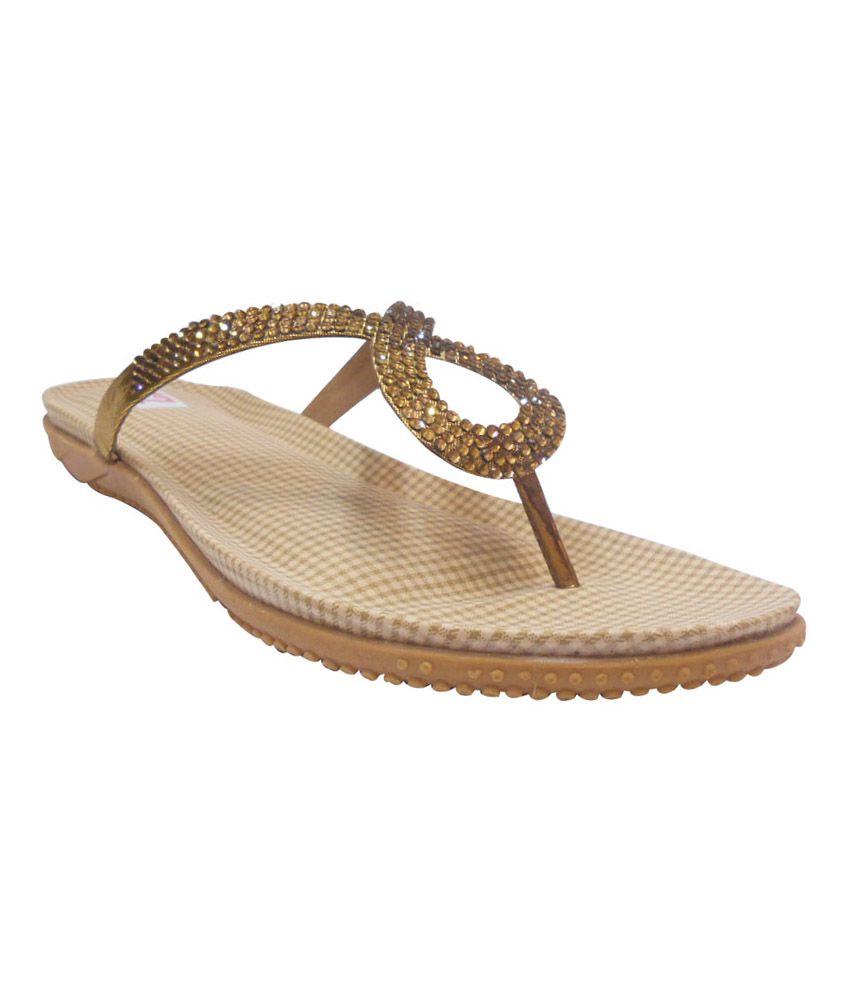 Zedds Gold Low Heel Open Toe Women Footwear